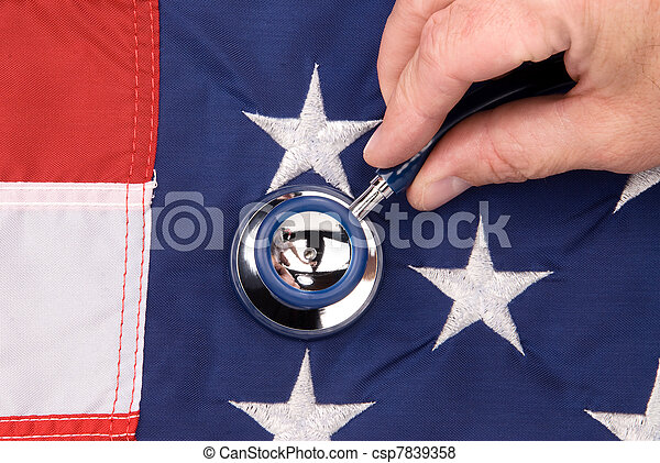 American flag and stethoscope - csp7839358