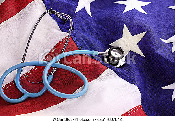 American Flag and Stethoscope - csp17807842