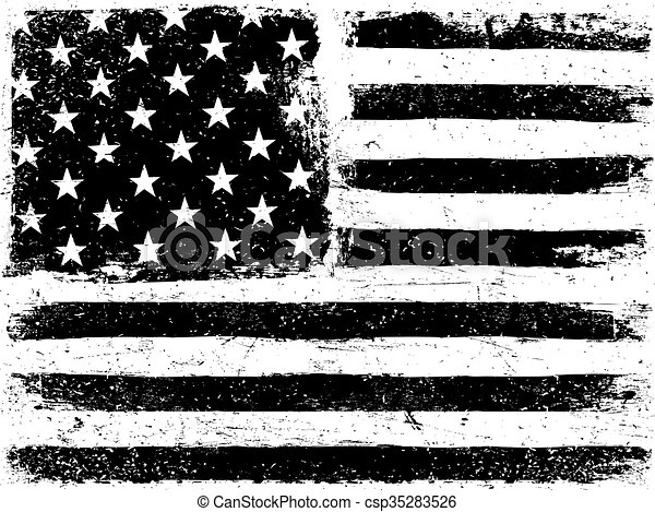 American Flag Background. Grunge Aged Vector Template. Horizontal orientation. Monochrome gamut. Black and white. Grunge layers can be easy editable or removed. - csp35283526