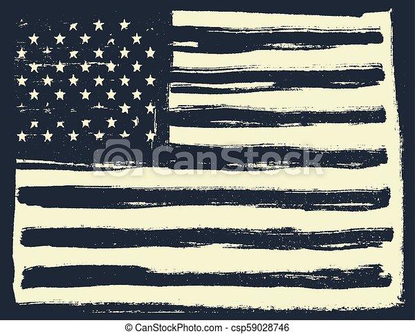 American Flag Background Horizontal Orientation Black And White