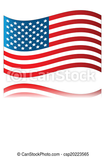 american flag with reflection isolated on a white clip art vector rh canstockphoto com