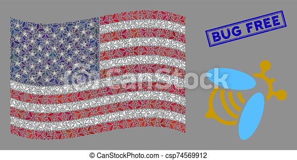 American Flag Collage of Bee and Grunge Bug Free Stamp - csp74569912