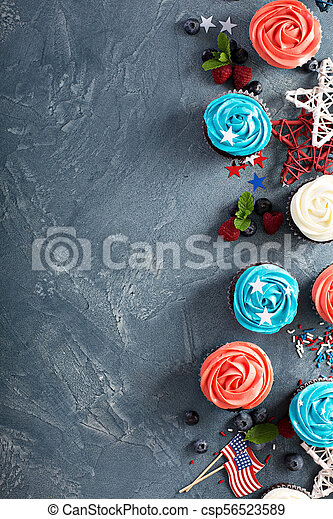 American flag cupcakes for 4th of July - csp56523589