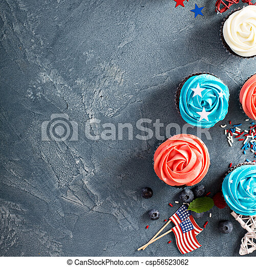 American flag cupcakes for 4th of July - csp56523062