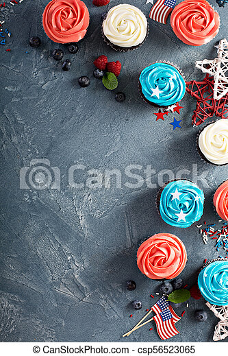 American flag cupcakes for 4th of July - csp56523065