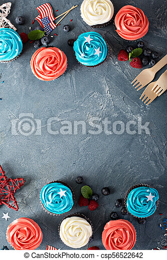 American flag cupcakes for 4th of July - csp56522642