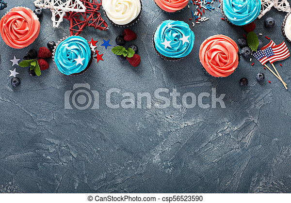 American flag cupcakes for 4th of July - csp56523590