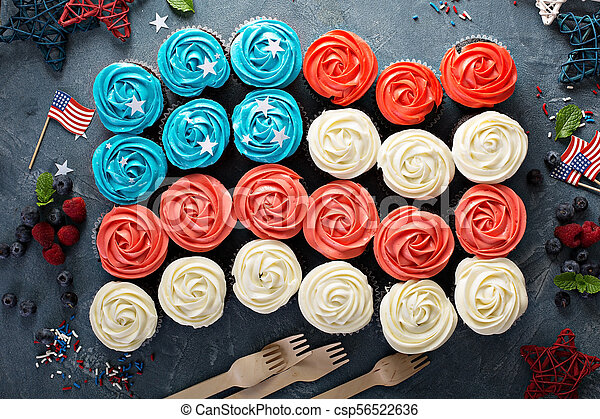 American flag cupcakes for 4th of July - csp56522636