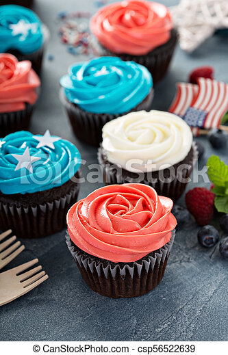 American flag cupcakes for 4th of July - csp56522639