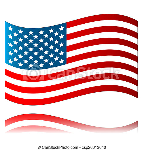 american flag with reflection isolated on a white drawing search rh canstockphoto com american flag graphics free american flag graphic with christian cross