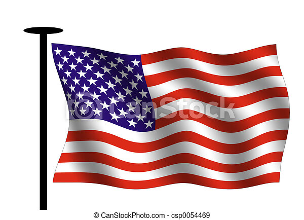 Waving American Flag With Flag Pole