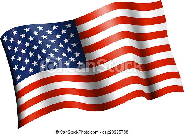 American Flag Flat Waving
