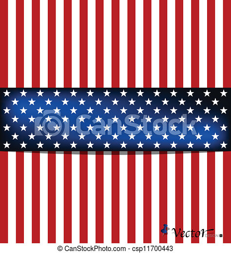 American Flag for Independence Day. Vector illustration. - csp11700443