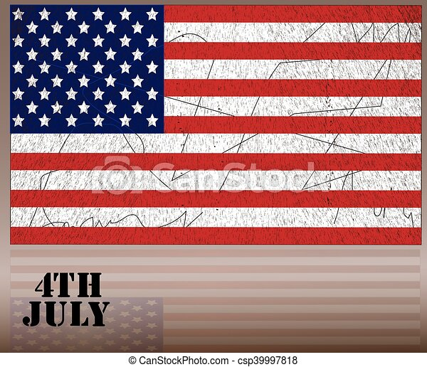 American Flag for Independence Day. Vector illustration. - csp39997818