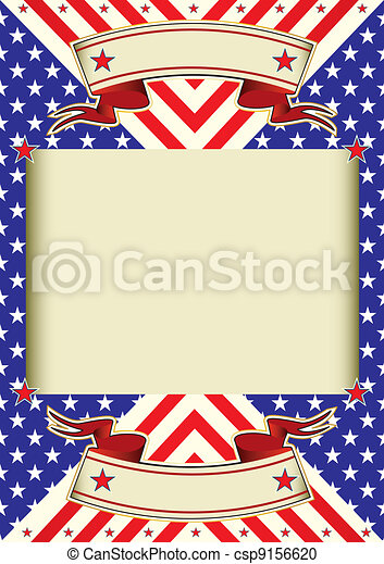 American flag frame background - csp9156620