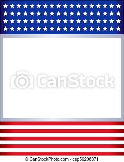 American flag frame template. American flag frame with empty space ...