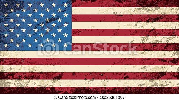 American flag. Grunge background. - csp25381807