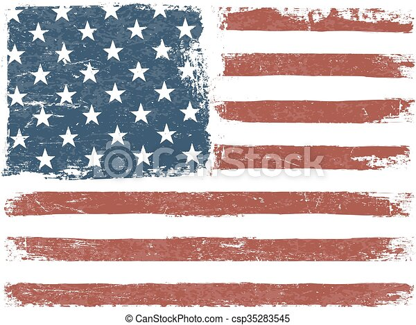 American Flag Grunge Background. Vector Template. Horizontal orientation. - csp35283545
