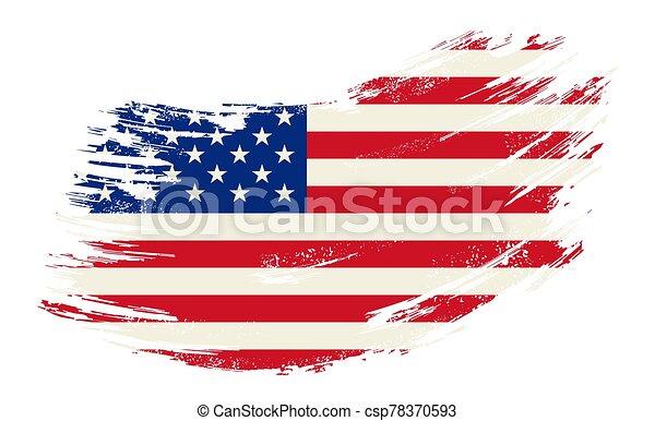 American flag grunge brush background. Vector illustration. - csp78370593