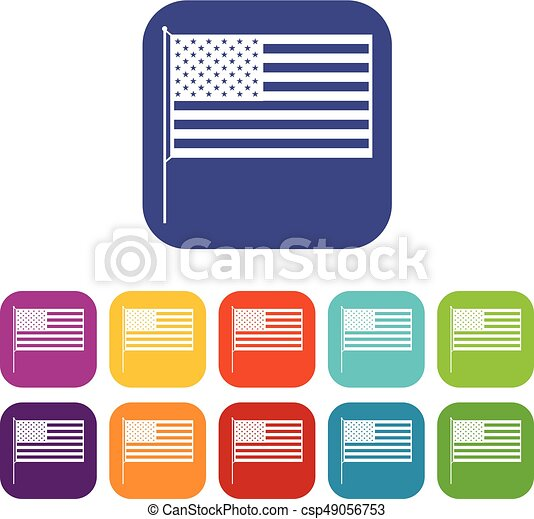 american flag icons set vector illustration in flat style in rh canstockphoto com American Flag Vertical Vector Clip Art american flag clipart vector
