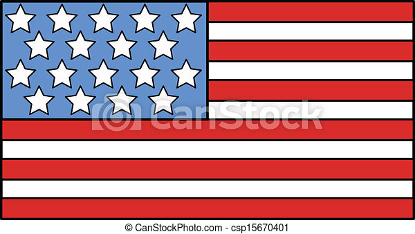American Flag Illustration Vector - csp15670401