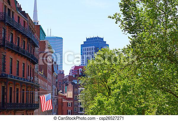 American flag in Boston near Common - csp26527271