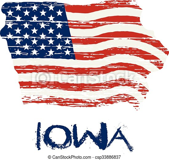 American Flag In Iowa Map Vector Grunge Style