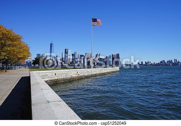 American Flag in New York City USA - csp51252049
