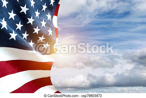 American flag in sky - csp79803973