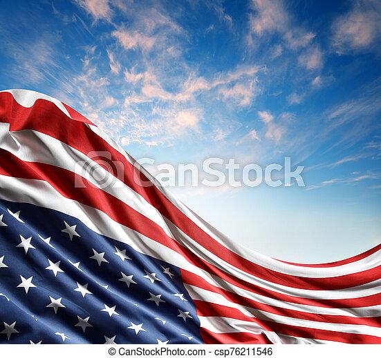 American flag in sky - csp76211546