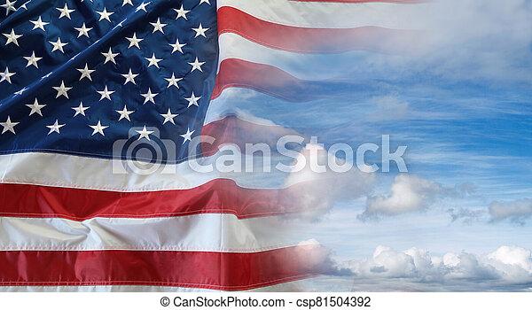 American flag in sky - csp81504392