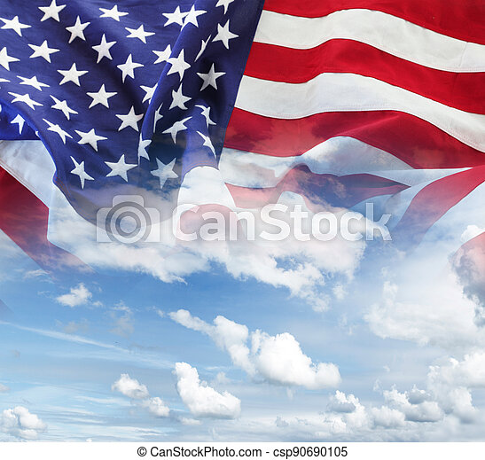 American flag in sky - csp90690105