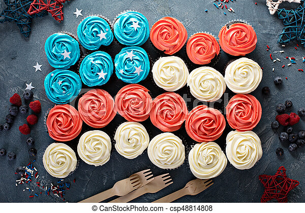American flag made of cupcakes - csp48814808