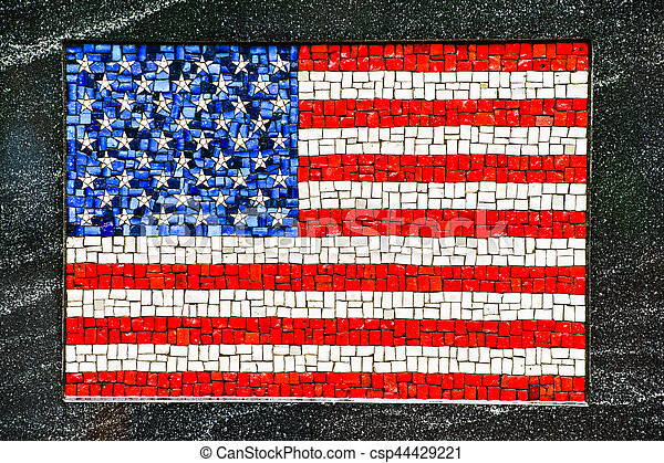 American flag made of little mosaic tiles - csp44429221