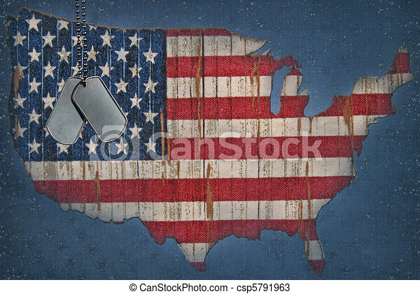 American Flag Map - csp5791963
