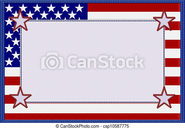 American flag material frame. An american material frame with ...