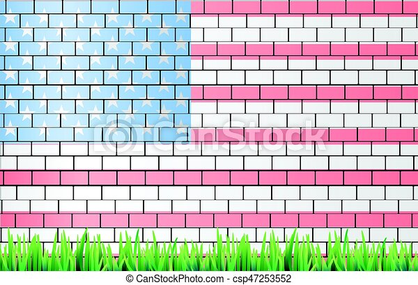 American flag on a brick wall white light - csp47253552