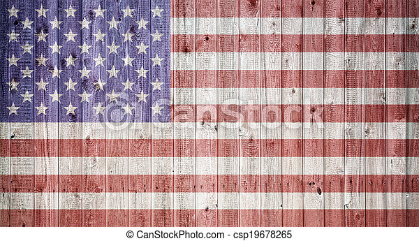 American flag on a wheatered wooden vintage background - csp19678265