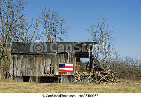 American Flag on Barn - csp35499287
