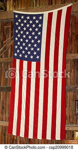 American Flag on Barn Wall - csp20999018