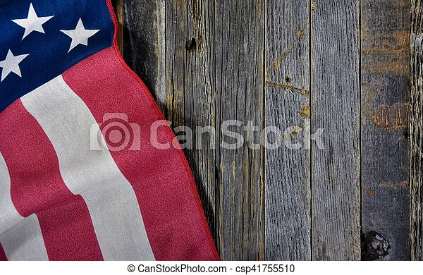American flag on barn wood - csp41755510
