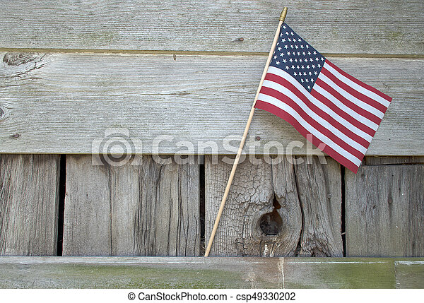 American flag on barn wood - csp49330202