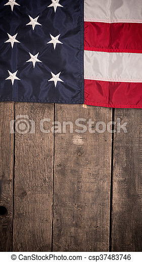American flag on old barn wood - csp37483746