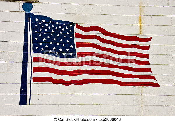 American Flag on Old Brick Wall - csp2066048