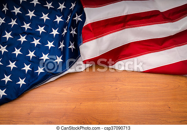 American flag on wood background - csp37090713
