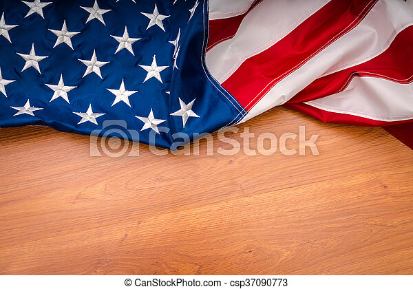 American flag on wood background - csp37090773