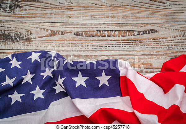 American flag on wood background . - csp45257718