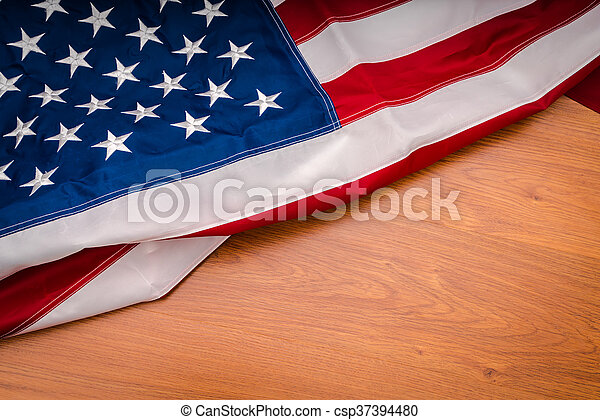 American flag on wood background - csp37394480
