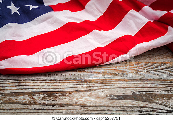 American flag on wood background . - csp45257751