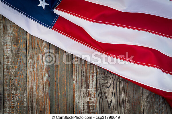 American flag on wood background - csp31798649